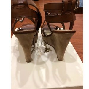 Coach Shoes - Coach Macey Strappy Wedge size9 CowboyBrownLeather